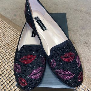 Inc Macy's rhinestone pink red lips loafers ax 7